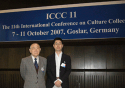 Prof. Kazuo Komagata and Dr. Mitsuo Sakamoto, research scientist of JCM (right) at the 11th International Conference on Culture Collections (ISCC 11) in Germany, October 2007.