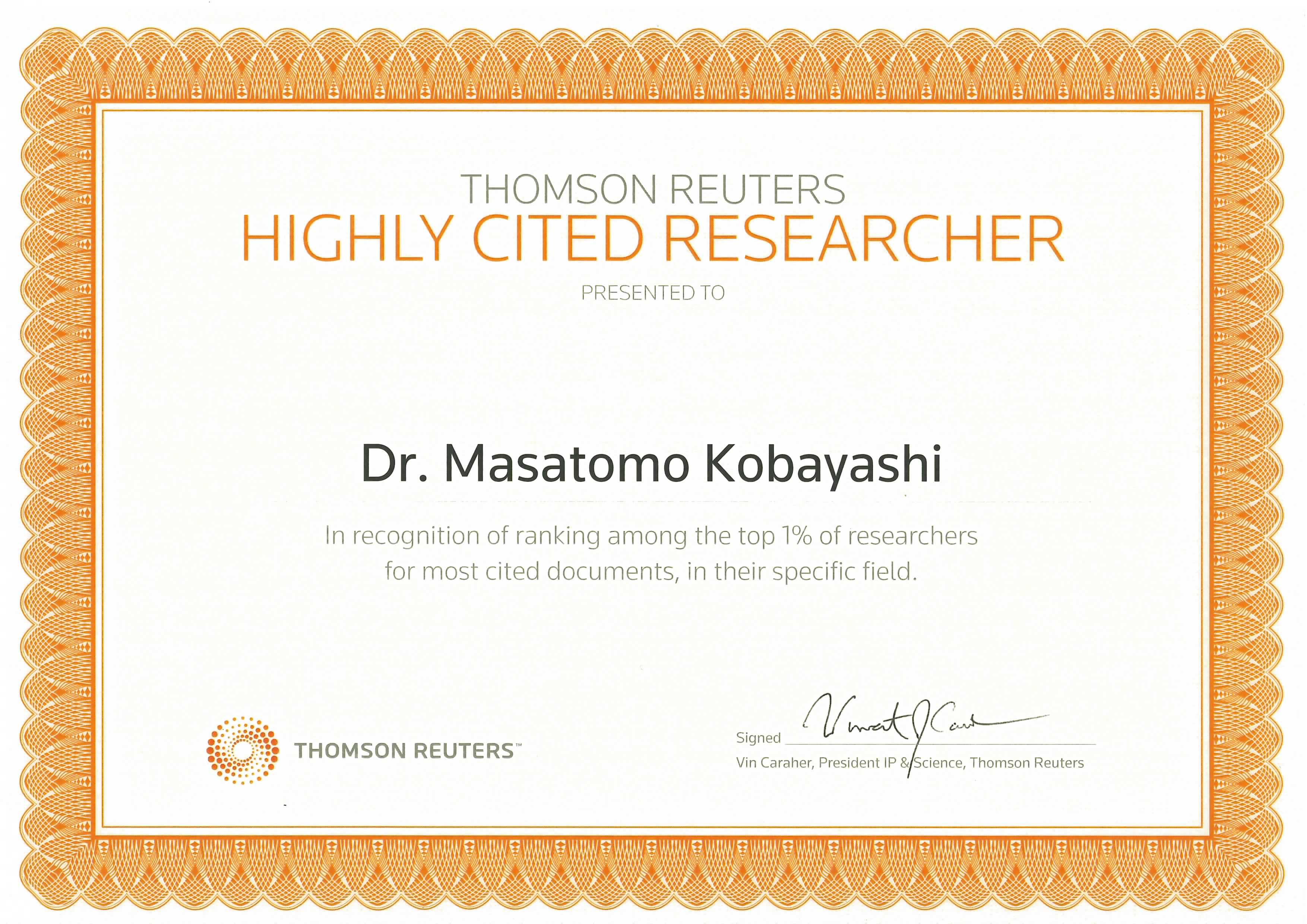 Dr. Masatomo Kobayashi has been selected for Highly Cited Researchers 2015